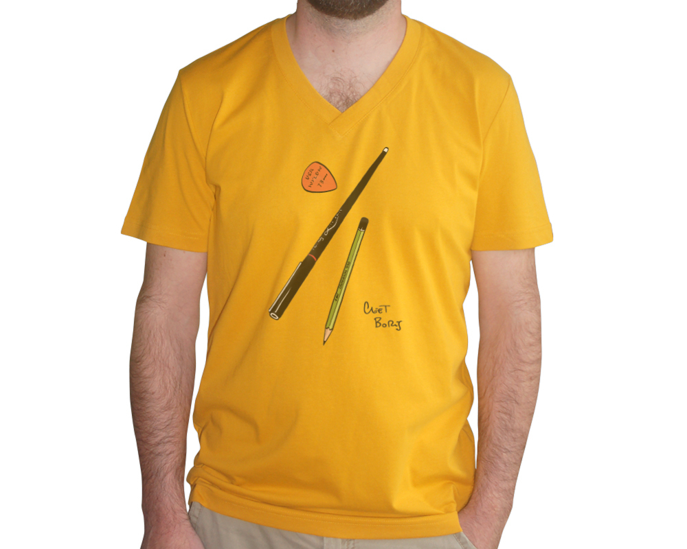 Plumes & Médiator T-shirt Homme Indian Yellow col V